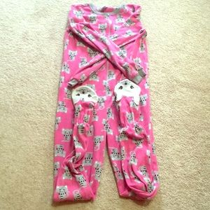 Girls cat zip up footie pajamas